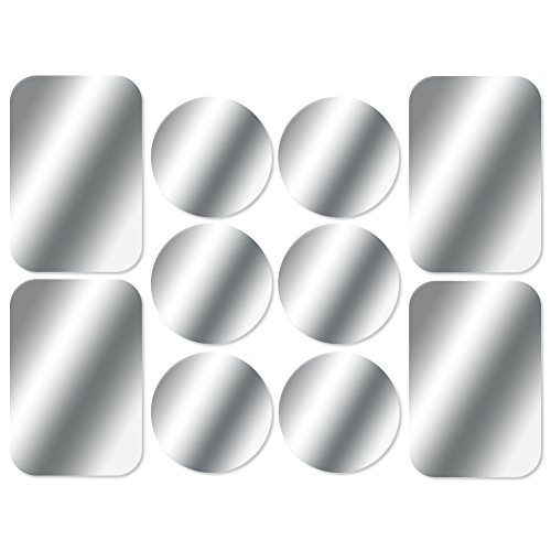 AJOXEL Metal Plate for Phone, [10 Pack] Replacement Mount Metal Plates Kits with 3M Adhesive Universal for All Magnetic Car Phone Holder Cradle Magnet Car Mount, (4 Rectangular and 6 Round), Silver