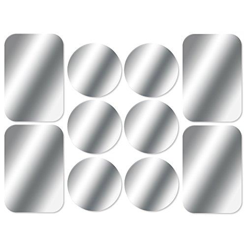 AJOXEL [10 Stück Metallplatte Metallplättchen Selbstklebend Set (6 Runden+4 Rechteckig) mit 3M Klebefolie für Magnet KFZ Handyhalterung Sehr Dünn Ersatzplatten für Handy und Tablet- Silber