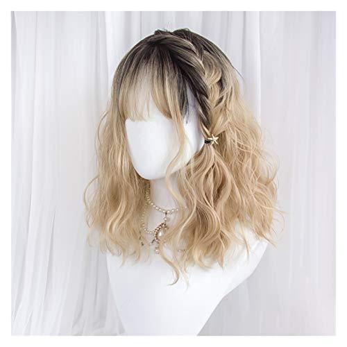Echthaar Perücke Frauen Perücke Blonde Schwarze Wurzeln Kurze Perücke Schulterlänge lockig wellenförmiger Wig Air Bangs synthetische Haarparty Haarteile (Color :...