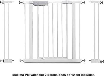 Babify Barrière de sécurité pour enfants pour portes et couloirs - Blanc - Polyvalence maximale de 65 à 91 cm - Comprend 2 extensions de 10 cm - Kit pour rampe