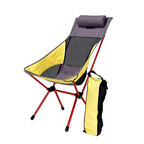 ELQ Folding Camping Chair - Ultralight High Back Camp Lounge Chairs with Headrest, Heavy Duty 300lb for Camping, BBQ, Beach, Travel, Picnic