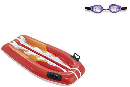 Bavaria-Home-Style-Collection Aufblasbarer Wellenreiter Luftmatratze Surfer Surf Board Schwimmliege Wsserspielzeug aufblasbar Badespaß See Schwimmbad Meer Strand Fluss für Kinder ab 6 Jahre (Rot)