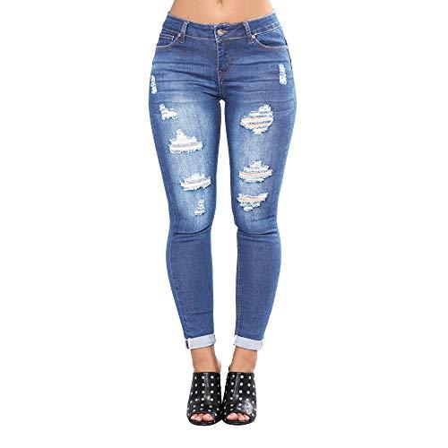 Mibuy Vaqueros Rotos Mujer,Moda Pantalones Tallas Grandes Vaqueros Altos Ajustados Pantalones Tejanos Largos Mujer Anchos Casual Straight Skinny Leggings Lápiz 2020 Jeans Azul,XL