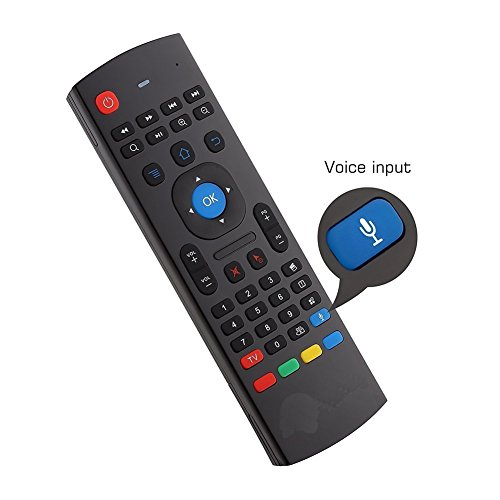 YFish Mando a Distancia con Mini Teclado Universal Inalámbrico 2 en 1 Sirve como Ratón Air Mouse Inteligente para Tele Ordenador Smart TV Box con Sistema Android Mac OS Windows y Linux 2.4GHz RF