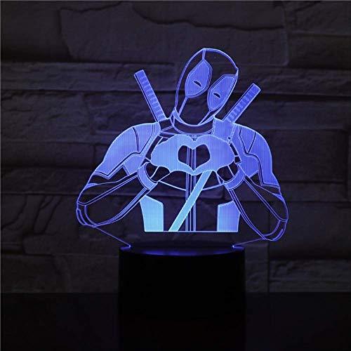 zhkn Kreative Nachtlicht Digital Alarm Clock Base Marvel Superheld Muster 3D 7 Farbwechsel USB Und Batteriebetriebene Berührungssteuerung Tischlampe Für Wohnkultur Und Kinder Geschenke