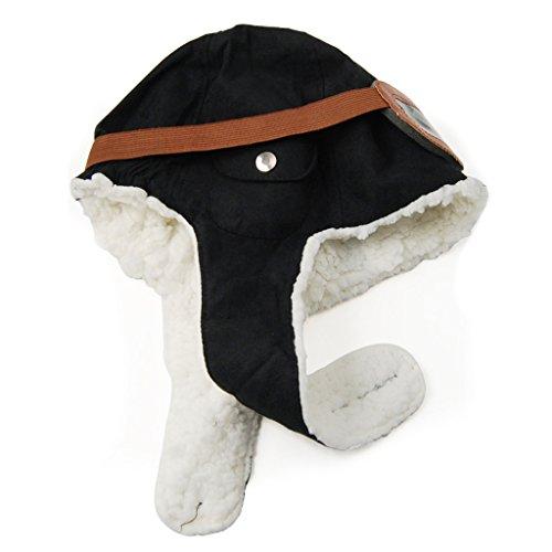 Veroda elástico del bebé de los niños del Aviador del piloto Casco Beanie Sombrero Caliente del Casquillo (Negro)