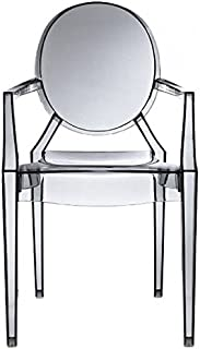 2xhome – Modern Ghost Chair Armchair With Arm Polycarbonate Plastic (Smoke)