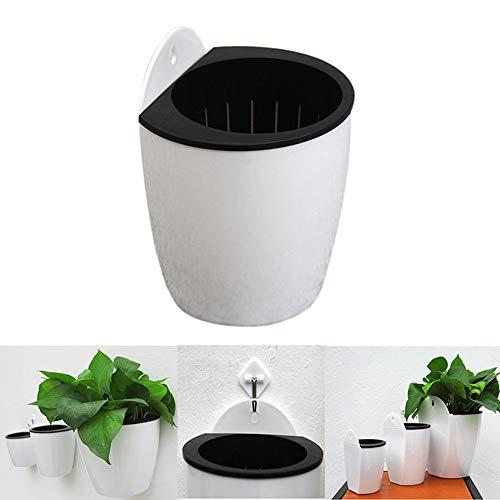 Fablcrew Blumentopf, für den Innenbereich, zum Aufhängen, aus Kunststoff, Weiß, für Blumentopf, automatische Bewässerung, Dekoration für Haus, Büro