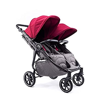 Silla Gemelar Easy Twin 4 Chasis Negro Baby Monsters Plástico de Lluvia y Barras Frontales incluidas Color Burdeos