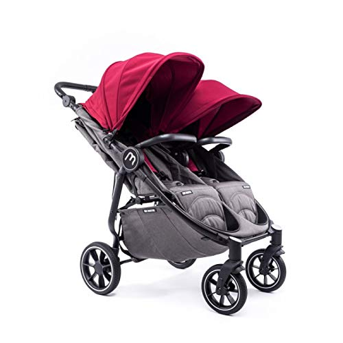 Silla Gemelar Easy Twin 4 Chasis Negro Plástico de Lluvia y Barras Frontales incluidas Color Burdeos