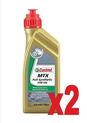 Castrol Full Synthetic 75W-140 litros, 1 aceite sintético para cambio de moto 2T y 4T, 2 unidades