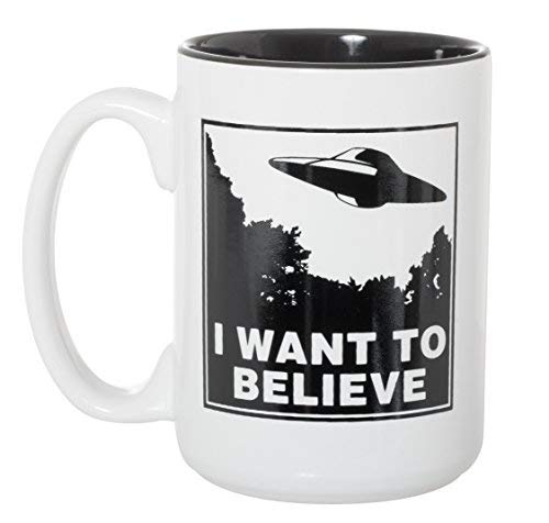 I Want To Believe UFO Mug - UFOs Aliens Extraterrestrials Space Mug - 15 oz Deluxe Double-Sided Coffee Tea Mug (White/Black Inlay)