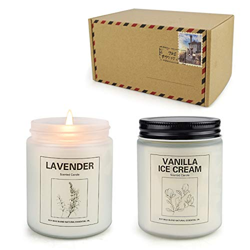 Lavender and Ice Cream Candles, Home Scented Soy Candle Set, Aromatherapy Candle 2 pcs, Soy Wax Set, Women Gift, Valentine's Day Gift with Strongly Fragrance Scent Oils Jar Candles