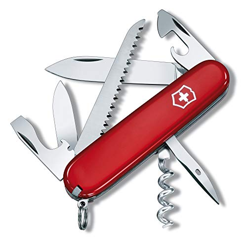 Victorinox Camper Swiss Army Pocket Knife, Medium, Multi Tool, 13 Functions, Blade, Bottle Opener, Red