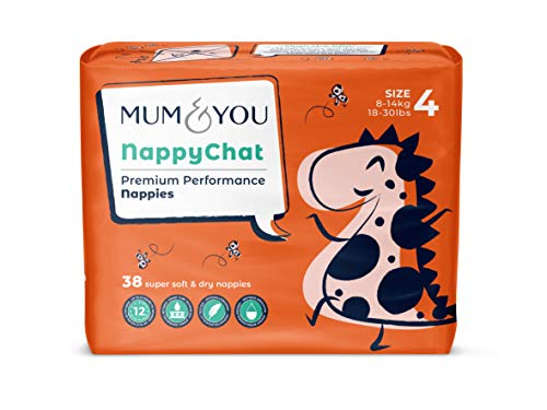 Mum amp You Nappychat Premium Performance Eco Diapers Size 4 38 Diapers Smart Tube Technology Leak Protection 100% Recyclable Hypoallergenic DermatologicallyTested No Lotion Perfume or Dyes