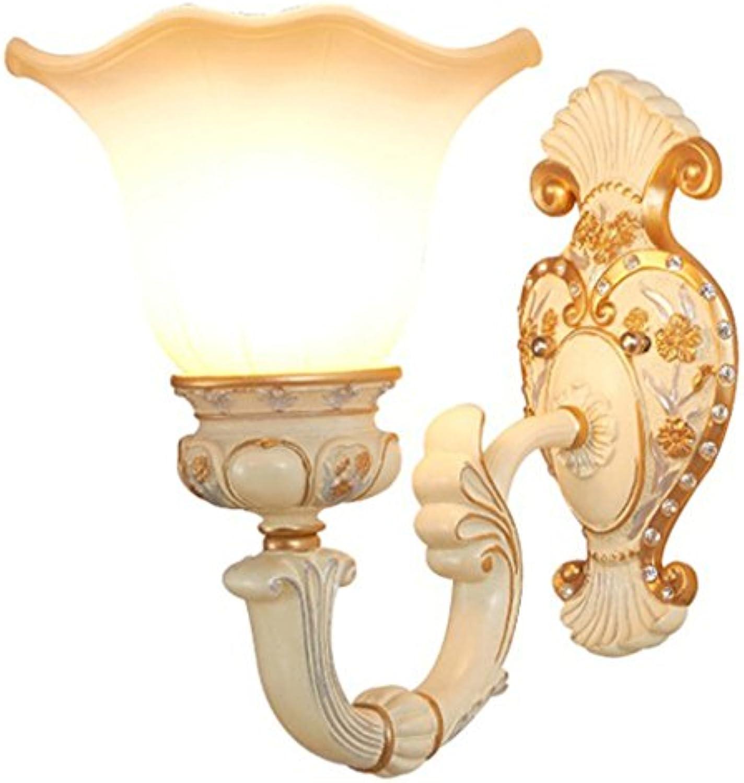 E27 Nachttischlampe Wandleuchte im europischen Stil Retro Harz Glas Wandleuchte Wohnzimmer Hotel Gang Balkon Treppe Wandleuchte (gre   Single head)