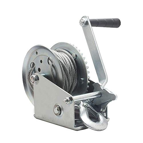 OPENROAD 1600lb Boat Trailer Winch, Hand Winch with 10m Cable,Handle Crank Manual Winch for Pulling,Hand Winch