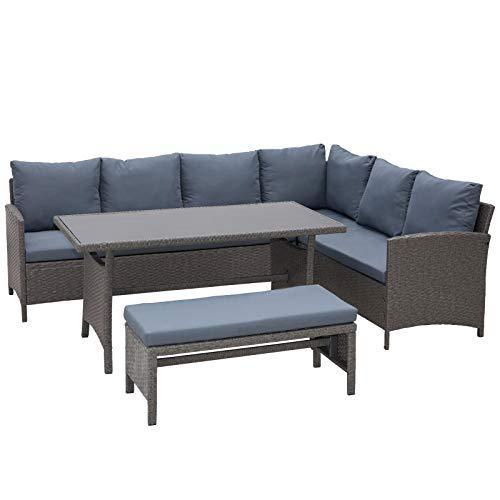 Outsunny Conjunto 4 Piezas Muebles de Ratán con Cojines para Jardín o Terraza Patio 2 Sofá 1 Mesa 1 Banco de Exterior Tubo de Hierro Gris
