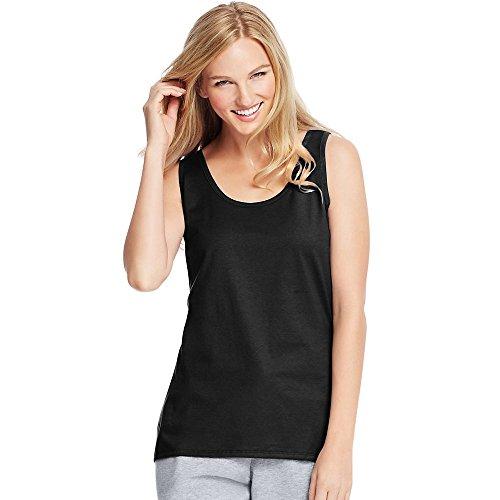 Hanes Women's Scoop Neck Tank Top, Black, X-Large