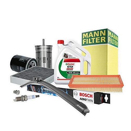 Inspektionspaket MANN-FILTER + 5L Castrol GTX 5W40 + 4 Zündkerzen + Wischer SET P-H-06-00160 Service/Wartung