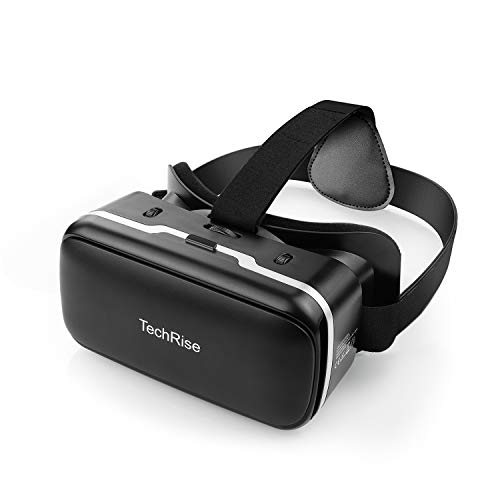 TechRise 3D VR Headset, Anti-Blue Light Eye Protected HD Universal Virtual Reality Goggles Compatible with iPhone & Android Phones, Comfortable Adjustable VR Glasses Gift for Kids and Adults
