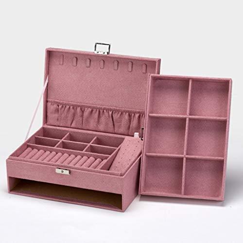 SHAMATE Caja de almacenamiento de joyería de estilo retro de terciopelo de madera para relojes, organizador de exhibición (color: rosa)