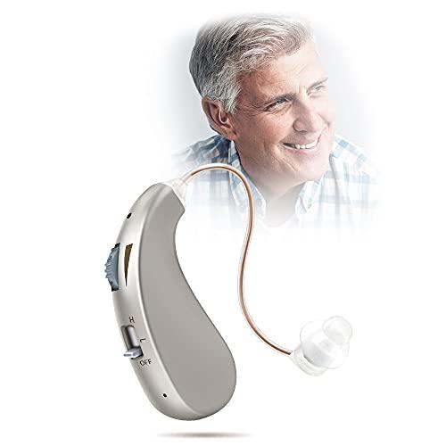 Amplificadores De Sonido Para Audífonos Recargables Amplificador De Sonido Para Audífonos, Invisible Detrás De La Oreja, Reducción De Ruido, Amplificador De Sonido Para Audífonos Digital Premium,Oro