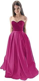 Jonlyc Women's Strapless Velvet Satin A Line Long Prom Evening Dress with Pockets