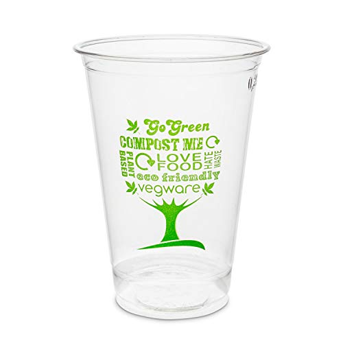 Plantvibes ® 50 x Vasos Desechables para Bebidas frías, Vajillas ecológicas de un sólo Uso, Vaso 100% compostable y Biodegradable, Estable y Claro, Copas de Bio PLA Fiestas (250ml, 50piezas)