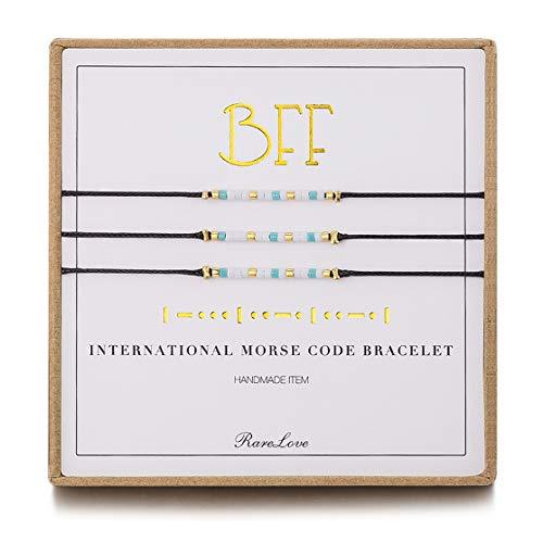 3 Pieces BFF Friendship Morse Code Bracelet Birthday Best Friends Gift For 3 Women Girls Blue White Tiny Pony Seed Beads Black String Bracelets