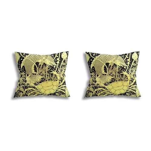 Throw Pillow Covers decoración de la habitación (Juego de 2 Piezas), Fish Crab Images Artistic from Thai Painting Literature for Background or Wallpaper General Thai Art,Juego de Funda de cojín para