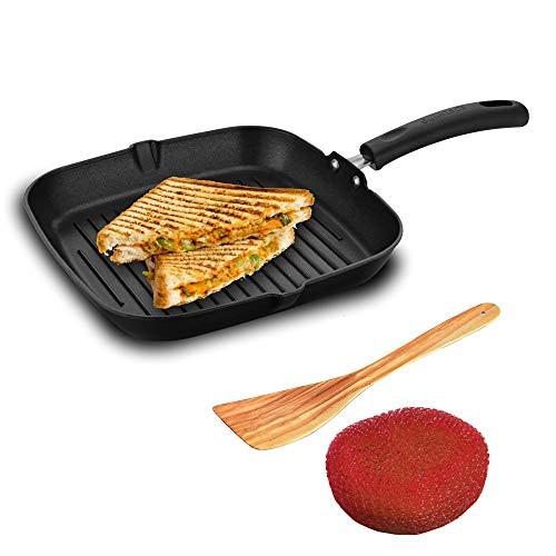 Sunblaze Non-Stick Cookware Sandwich Maker Grill Pan (250×250) Black (Free 1 Sponge and 1 Spatula) 1 Year Warranty Free Home Service