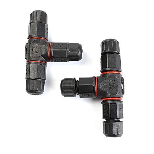 CJMM Kabel-Verbindungsbox T-Form Kabelverbinder IP68 Verbindungsmuffe für Kabeldurchmesser 5-10.5 mm 3-polig