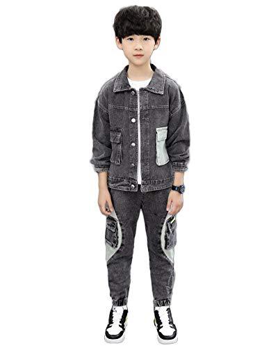 YOUCAI Jungen Jeansjacke Kinder Jeans Jacke Mantel Lange Jeanshose 2tlg Denim Kleidung Set Freizeitanzug Outfit-Set Trainingsanzug,Dunkelgrau,150