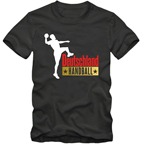 Herren T-Shirt Handball Deutschland WM Fan Tee S-3XL (S, Grau)