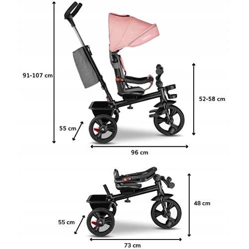 Lionelo Haari 2in1 Dreirad mit Schubstange ab 18 Monate bis 25kg Vorwärts und Rückwärtsfahrt schlauchlose Gummireifen Freilauf geräumiger Korb Tasche Getränkehalter (Rosa)