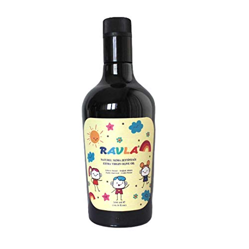 RAVLA KIDS Extra Virgin Olive Oil 336 Mg/Kg Total Phenolic Compound Cold Pressed Mild and Delicate Flavor First Cold Pressed Single Bottle with special packing for Kids (16.9 Fl Oz/500 ml)