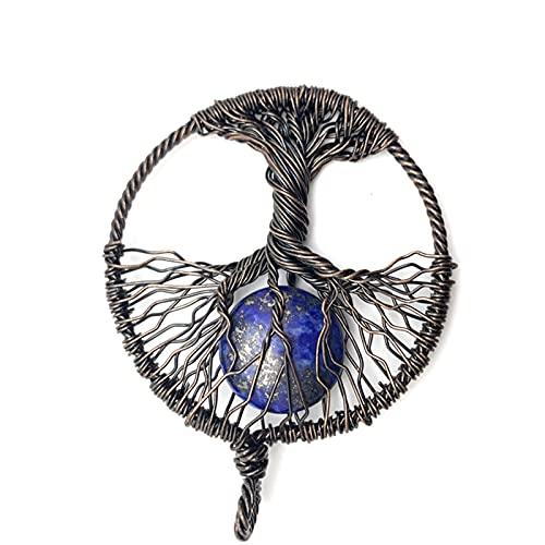 DGDH Life Tree Pendant Necklace, Natural Crystal Stone Men's And Women's Life Tree Pendant Jewelry DIY Necklace Bracelet Earrings Jewelry (Metal color : 07)