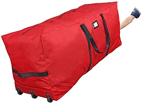 "Primode Rolling Tree Storage Bag, Fits Up to 9 ft. Disassembled Holiday Tree, 25"" Height X 20"" Wide X 60"" Long, Extra Large Heavy Duty Storage Container with Wheels and Handles (Red)"