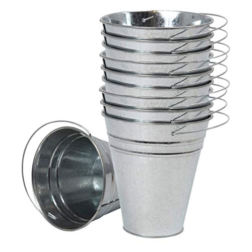 """Houseables Galvanized Buckets, Metal, Silver, 4.5"""" W x 5"""" H, 12 Pack, Tin, Party Supplies, Mini Toy Container, Decorative Bucket With Handle, For Candy Bars, Crafts, Vase, Favors"""