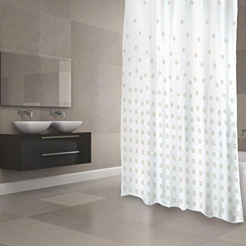 """MSV Cotexsa by Premium Anti-Schimmel Textil Duschvorhang - Anti-Bakteriell, waschbar, 100prozent wasserdicht, mit 12 Duschvorhangringen - Polyester, """"Thika"""" Beige 180x200cm – Made in Spain"""