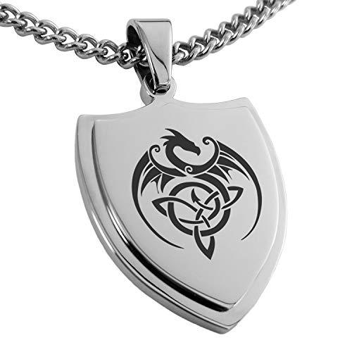 Stainless Steel Celtic Dragon Triquetra Shield Pendant Necklace