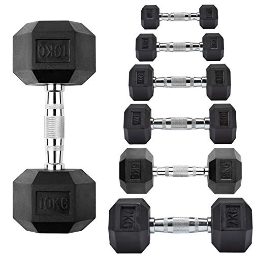 MOTION Hex Dumbbells – Rubber Encased Hexagonal Cast Iron Dumbbell Weights – Heavy Duty Rubber Commercial Dumbbell, Weight Sets for Weight Training, Knurled Chrome Handle (10 KG, Pair)