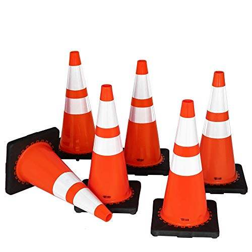 TUFFIOM 6Pcs Safety Traffic Cones, 28' Orange Slim Fluorescent Reflective Collars, Road Parking Field Marker Cones for Outdoor Activity & Festive Events Multipurpose