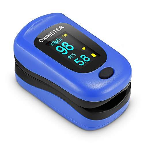 Oxímetro de Pulso, Pulsioximetro de Dedo Profesional con Pantalla OLED que Medición y Lectura Instantánea de SpO2, PR y PI Aplica para Adultos y Niños ⭐