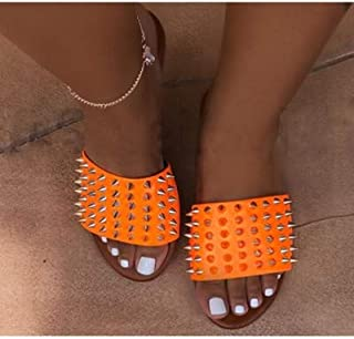 Candy Color Wild Rivet Slippers Leather Female home Slippers Flat with Women outdoor Sandals Beach Slippers 36-42 Sizes Female summer sandals and slippers (Color : Orange, Shoe Size : 11)