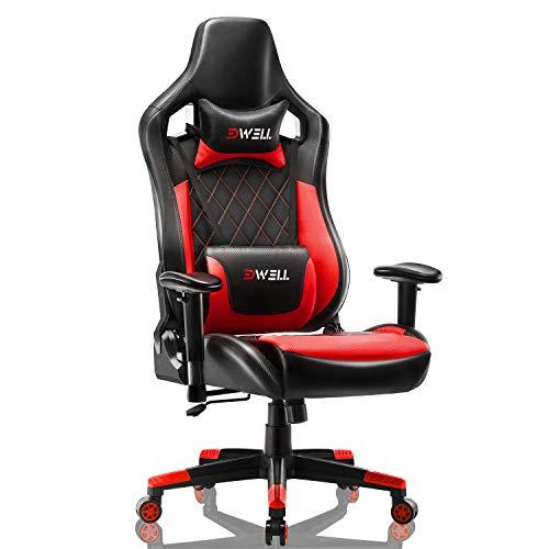 Gaming Stuhl Computer Spielstuhl - Einstellbare Drehenende zum Haus Office Liegestuhl mit Hohen Rücken Kopfstütze und Taille-Massage Unterstützung Lehnstuhl für PC (Rot)