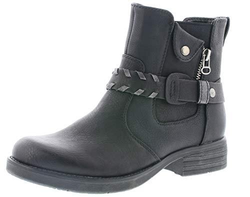 Rieker Damen Stiefeletten 91258, Frauen Biker Boots, Stiefel halbstiefel bikerbootie gefüttert Damen,schwarz,39 EU / 6 UK