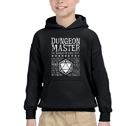 BINGO TWO Children's Hooded Pocket Sweater Dungeon Master, The Weaver of Lore & Fate - Dungeons & Dragons Simple Winter Personality Wild Black 3T