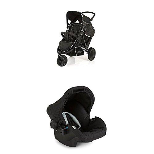 Hauck Freerider Geschwisterkinderwagen, mit abnehmbarem Zweitsitz, für ein oder zwei Kinder, Tandem, hintereinander, ab Geburt nutzbar, bis 30 kg, schmal, inkl. Regenverdeck, schwarz inkl. Babyschale
